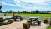 Our comfortable outdoor paved picnic area at London Road Pavilion, Louth Lincolnshire